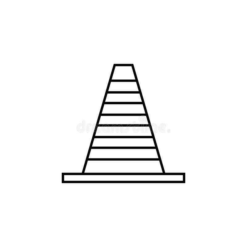 Het pictogram van de wegkegel Element van het rennen voor mobiel concept en Web apps pictogram Dun lijnpictogram voor websiteontw stock illustratie