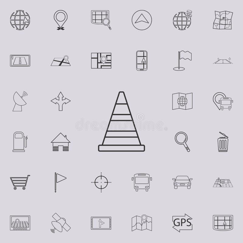 Het pictogram van de wegkegel Gedetailleerde reeks navigatiepictogrammen Grafisch het ontwerpteken van de premiekwaliteit Één van vector illustratie