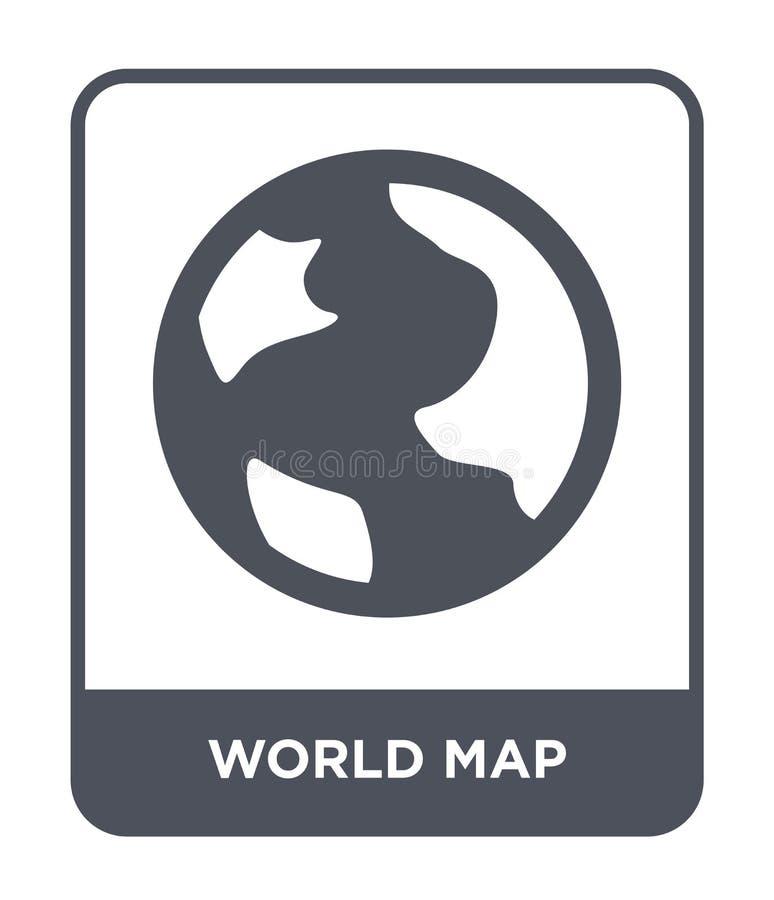het pictogram van de wereldkaart in in ontwerpstijl Het pictogram van de wereldkaart op witte achtergrond wordt geïsoleerd die ve royalty-vrije illustratie