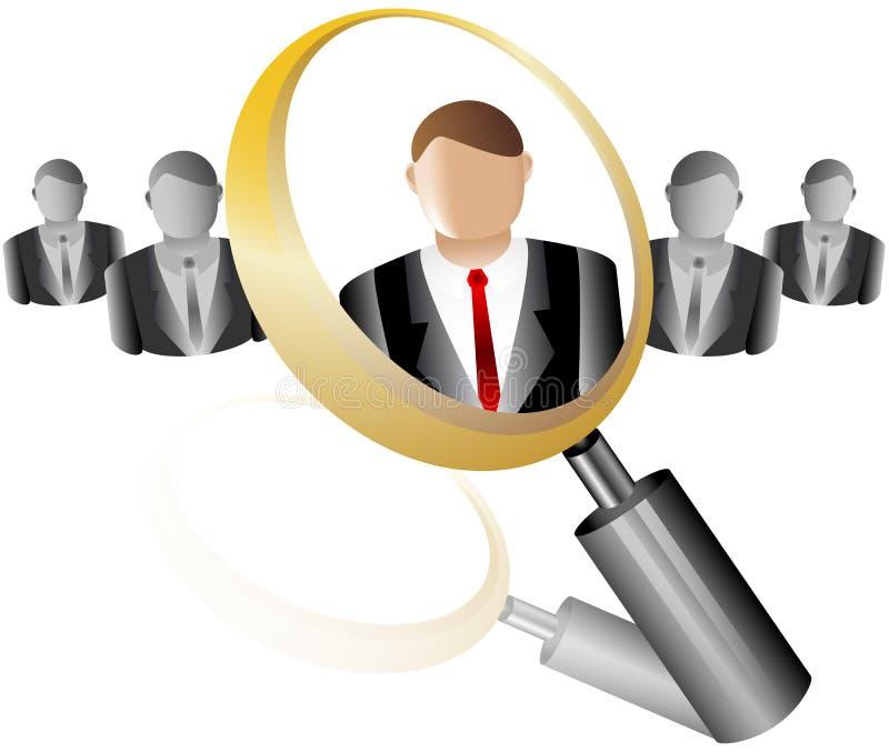 Het Pictogram van de Werknemer van het onderzoek voor het Agentschap Magnifier van de Rekrutering vector illustratie