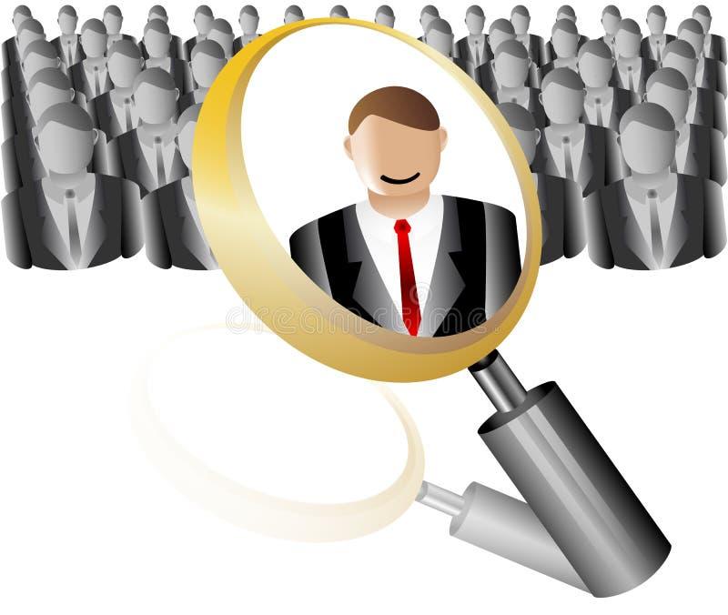 Het Pictogram van de Werknemer van het onderzoek voor het Agentschap Magnifier van de Rekrutering met Zaken royalty-vrije illustratie