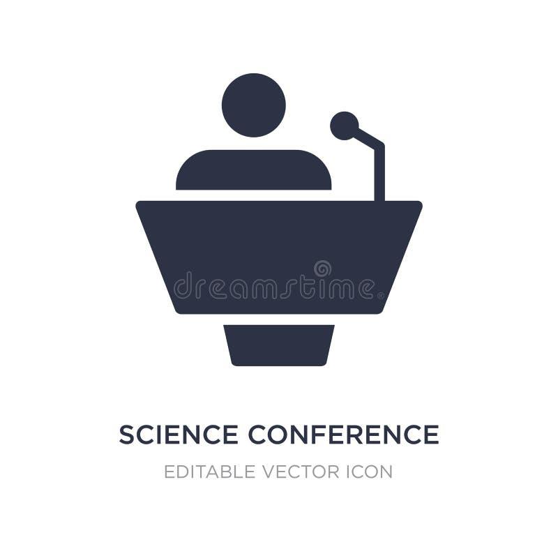 het pictogram van de wetenschapsconferentie op witte achtergrond Eenvoudige elementenillustratie van het concept Van verschillend royalty-vrije illustratie