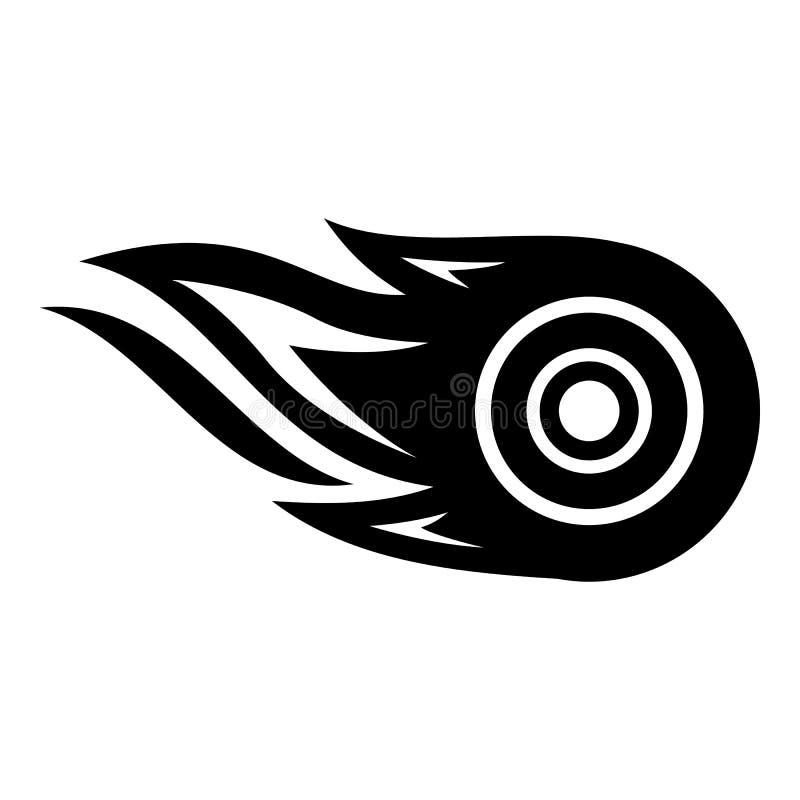 Het pictogram van de wielbrand, eenvoudige zwarte stijl stock illustratie