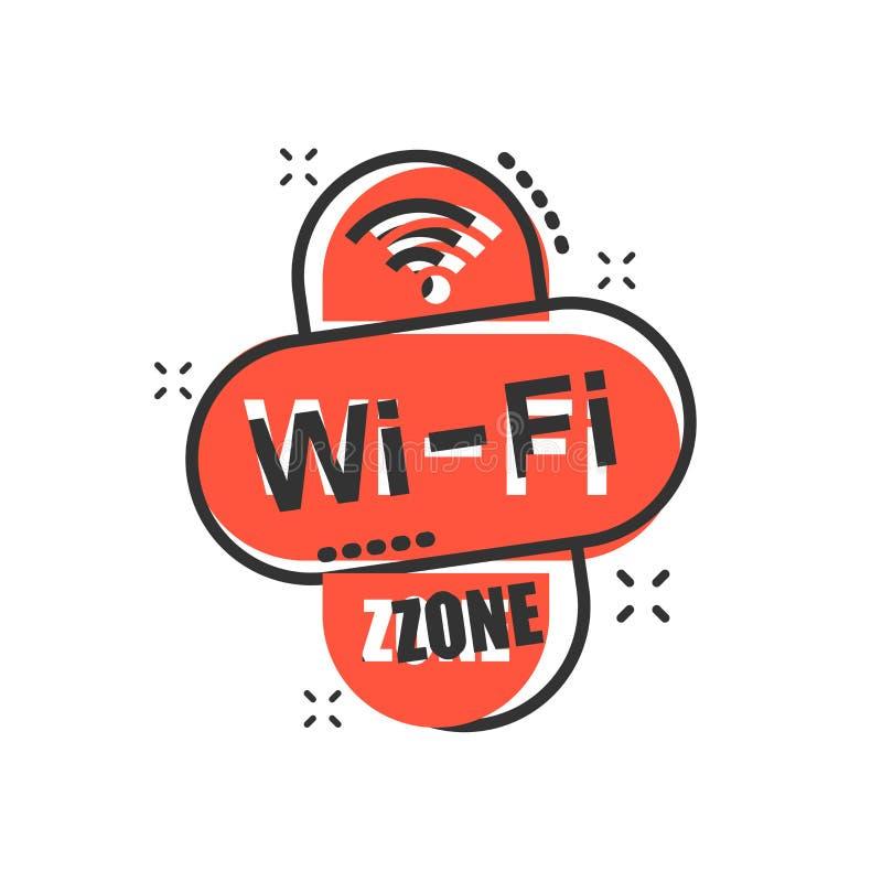 Het pictogram van de Wifistreek in grappige stijl Van het de technologie vectorbeeldverhaal van WiFi draadloos de illustratiepict stock illustratie