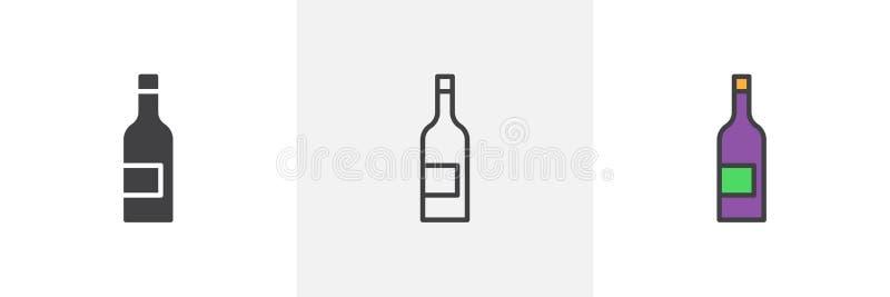 Het pictogram van de wijnfles vector illustratie