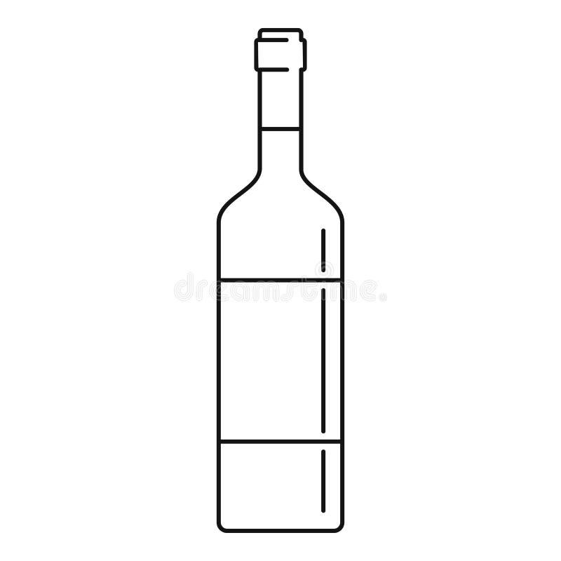 Het pictogram van de wijnfles, overzichtsstijl vector illustratie