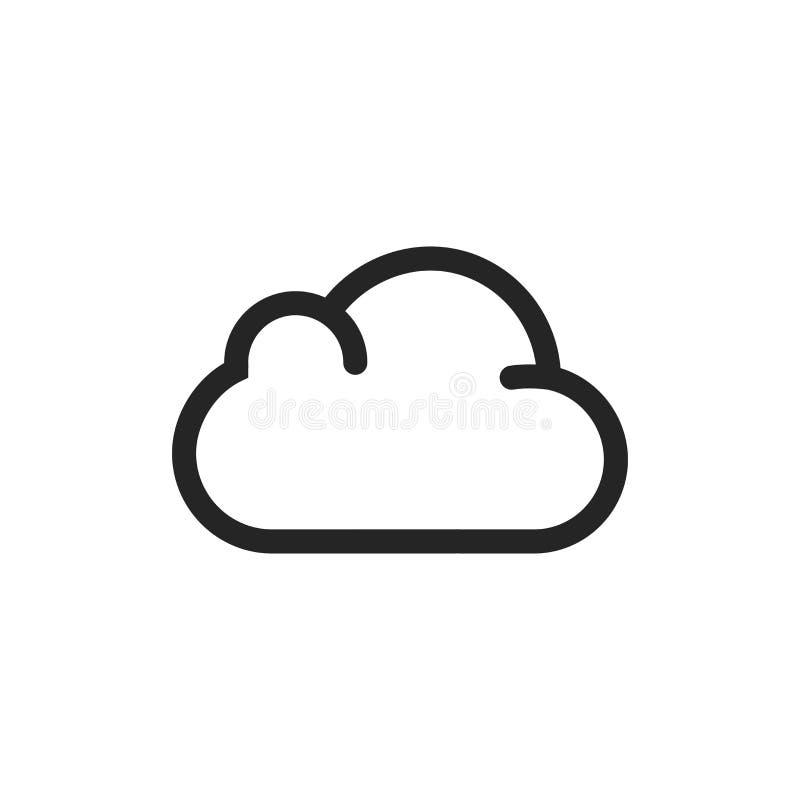 Het pictogram van de wolk Weersymbool, vectordieteken op witte achtergrond wordt geïsoleerd Modern, eenvoudig pictogram voor graf stock foto's