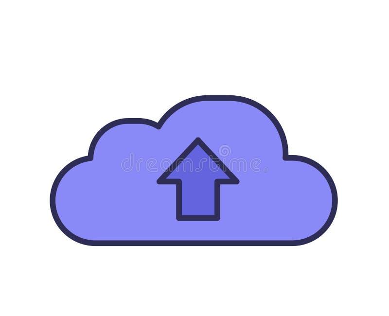 Het pictogram van de wolk Het pictogram van de wolkensynchronisatie Lijn gekleurde vectorillustratie Geïsoleerdj op witte achterg vector illustratie