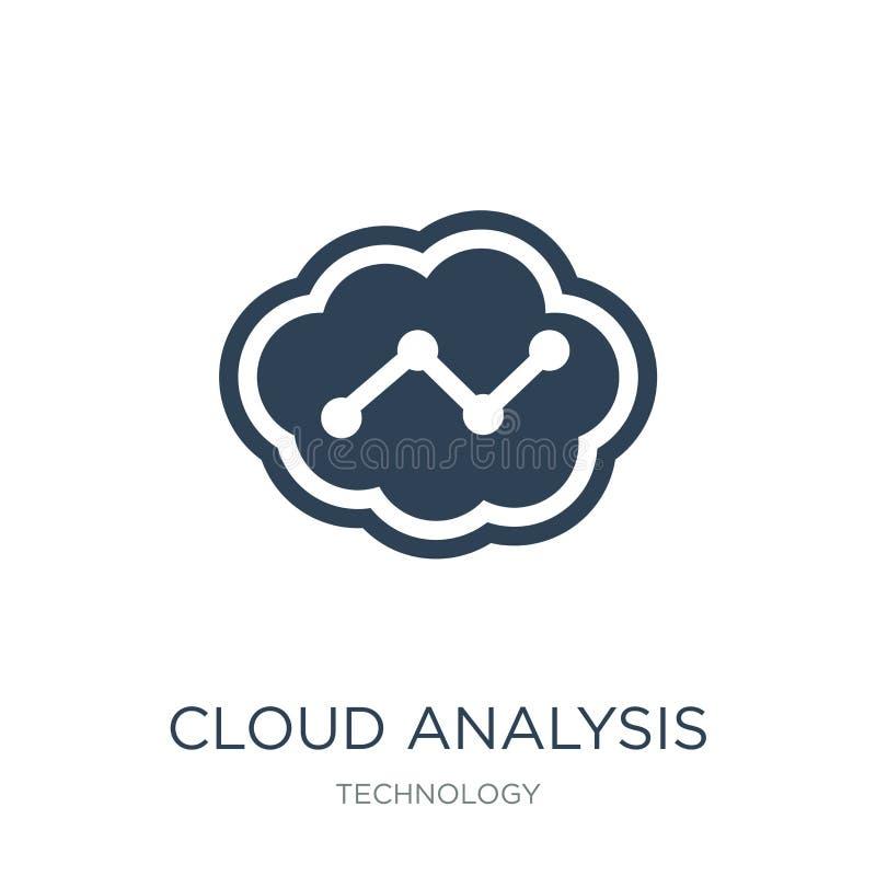het pictogram van de wolkenanalyse in in ontwerpstijl het pictogram van de wolkenanalyse op witte achtergrond wordt geïsoleerd di royalty-vrije illustratie