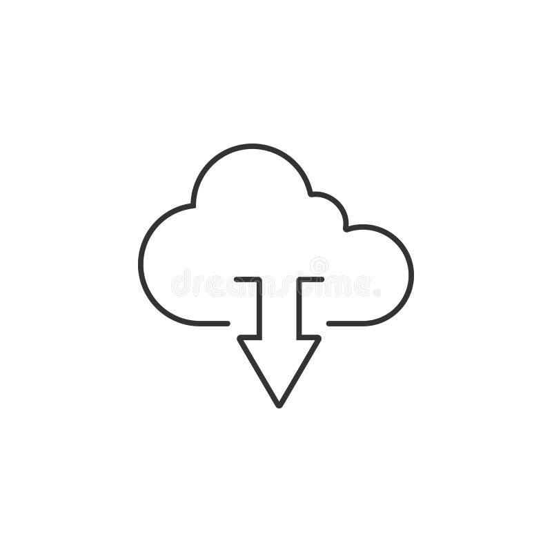 het pictogram van de wolkendownload Eenvoudige elementenillustratie Het malplaatje van het het symboolontwerp van de wolkendownlo stock illustratie