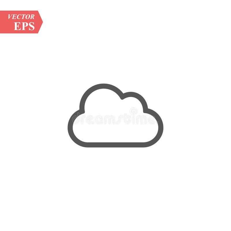 Het pictogram van de wolkenlijn, overzichts vectorteken, lineair die stijlpictogram op wit wordt geïsoleerd Symbool, embleemillus stock illustratie