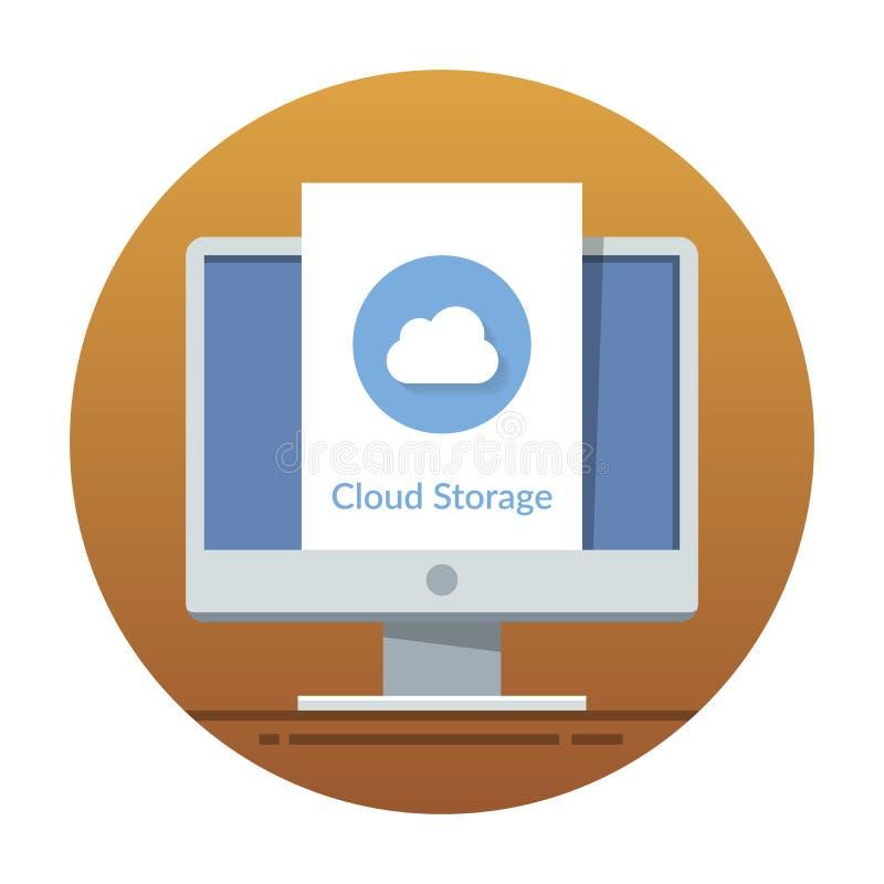Het pictogram van de wolkenopslag op het monitorscherm Vlakke vectorillustratie voor mobiele toepassing of websiteinterface stock illustratie