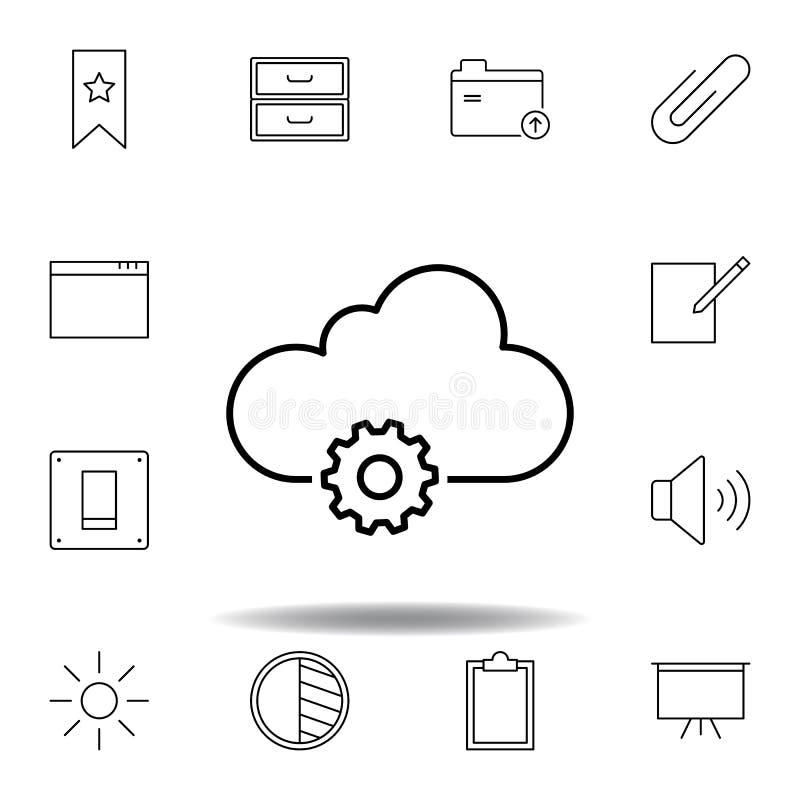 Het pictogram van het de wolkenoverzicht van gegevensmontages Gedetailleerde reeks unigridillustratiespictogrammen van verschille vector illustratie