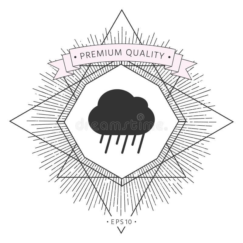 Het pictogram van de wolkenregen vector illustratie
