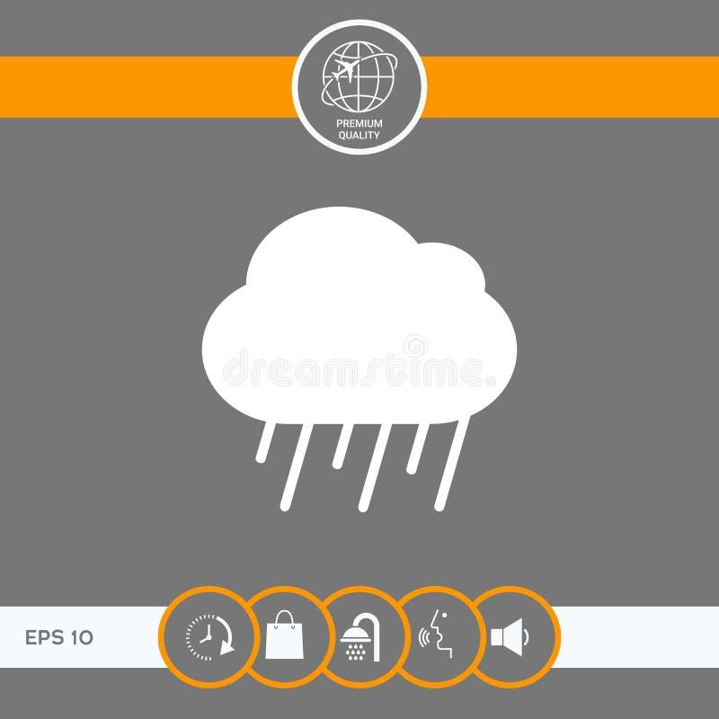 Het pictogram van de wolkenregen royalty-vrije illustratie