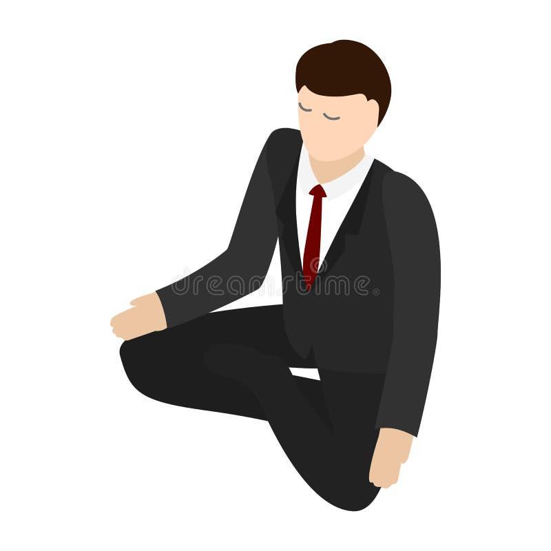 Het pictogram van de zakenmanmeditatie, isometrische 3d stijl stock illustratie