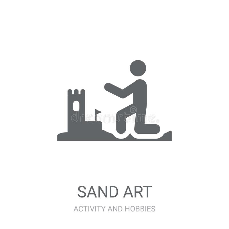 Het pictogram van de zandkunst In het embleemconcept van de Zandkunst op witte achtergrond vector illustratie