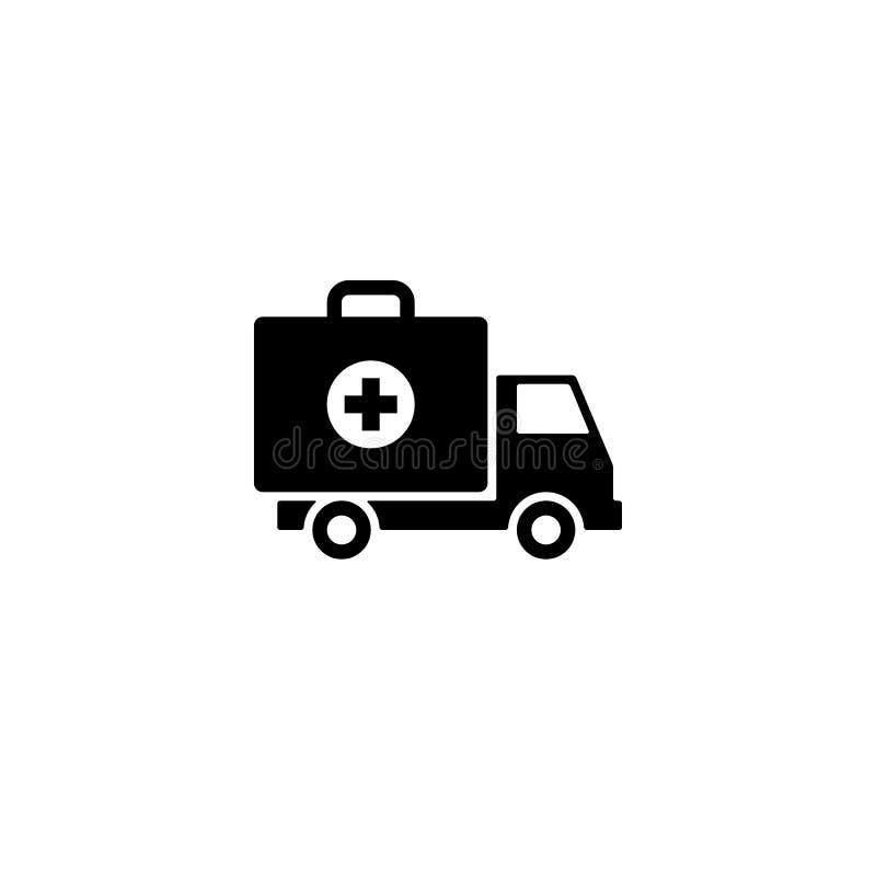 Het pictogram van de ziekenwagenauto, eerste hulpuitrusting op wielensymbool royalty-vrije illustratie