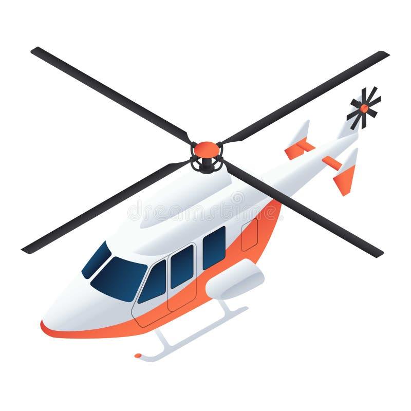 Het pictogram van de ziekenwagenhelikopter, isometrische stijl vector illustratie