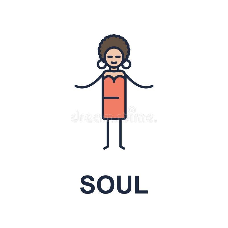 het pictogram van de zielmusicus Element van het pictogram van de muziekstijl voor mobiel concept en Web apps Het gekleurde picto stock illustratie