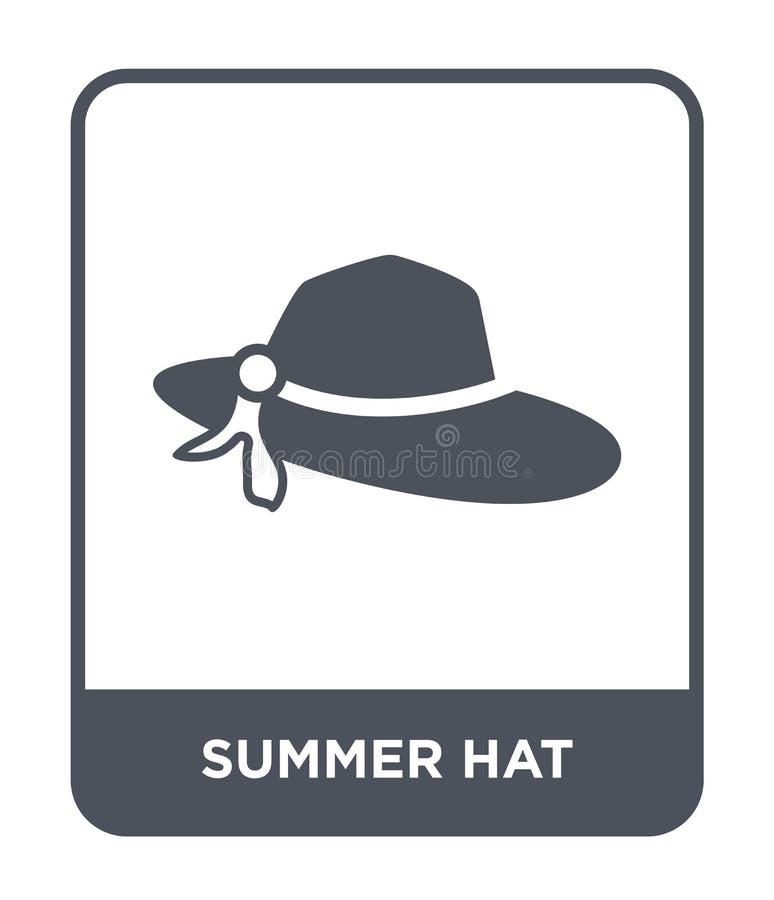 het pictogram van de de zomerhoed in in ontwerpstijl het pictogram van de de zomerhoed op witte achtergrond wordt geïsoleerd die  vector illustratie