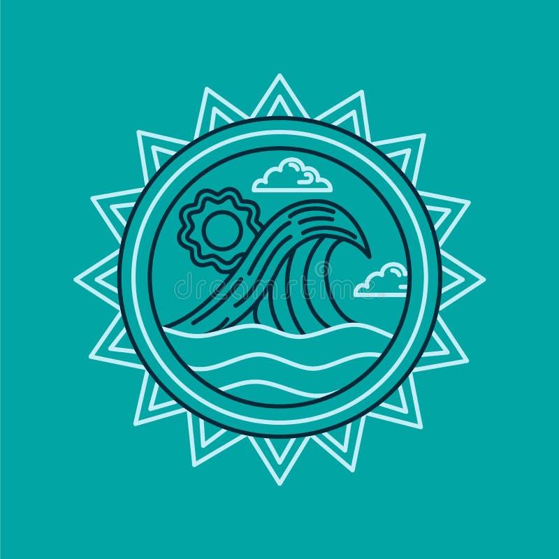 Download Het Pictogram Van De De Zomervakantie Met Oceaan In De Stijl Van De Lijnkunst Vector Illustratie - Illustratie bestaande uit baai, geïsoleerd: 114226940