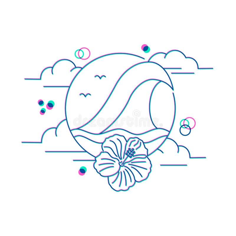 Het pictogram van de de zomervakantie met oceaan in de stijl van de lijnkunst stock illustratie