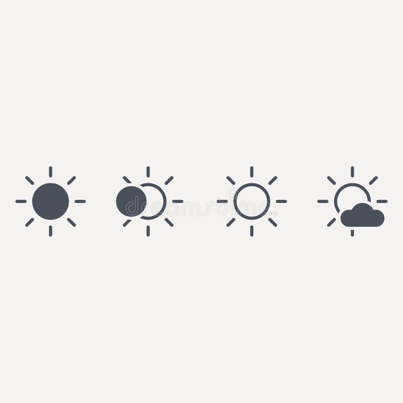 Het pictogram van de zonlijn, overzichts vectorteken, lineair stijlpictogram dat op wit wordt ge?soleerd Zonnig weersymbool, embl royalty-vrije illustratie