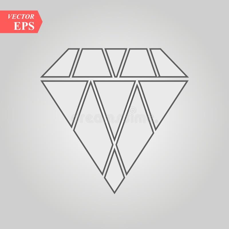 Het pictogram van het diamantoverzicht, moderne minimale vlakke ontwerpstijl, dunne lijn vectorillustratie royalty-vrije illustratie