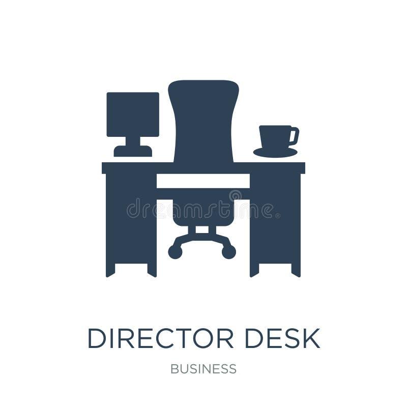 het pictogram van het directeursbureau in in ontwerpstijl het pictogram van het directeursbureau op witte achtergrond wordt geïso vector illustratie