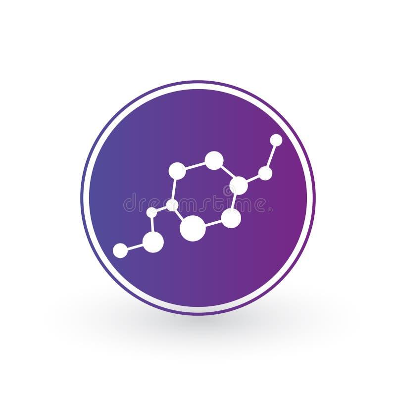het pictogram van DNA en van de molecule in cirkel Moleculaire structuur Vectormalplaatjeembleem voor geneeskunde, wetenschap, te stock illustratie