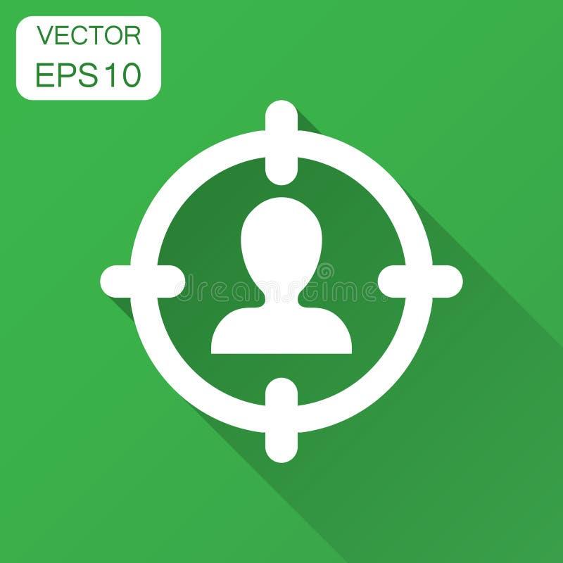 Het pictogram van het doelpubliek in vlakke stijl Nadruk op mensen vectorillustratie met lange schaduw Personeels bedrijfsconcept stock illustratie
