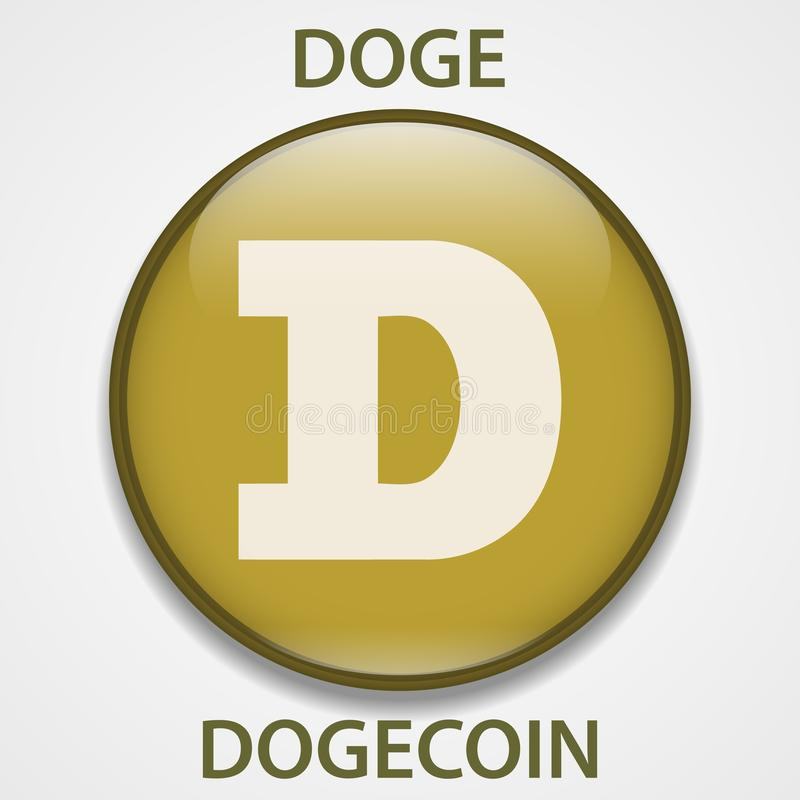 Het pictogram van Dogecoincryptocurrency blockchain Virtueel elektronisch, Internet-geld of cryptocoin symbool, embleem vector illustratie