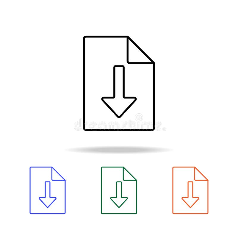 het pictogram van het downloadblad Elementen van eenvoudig Webpictogram in multikleur Grafisch het ontwerppictogram van de premie vector illustratie
