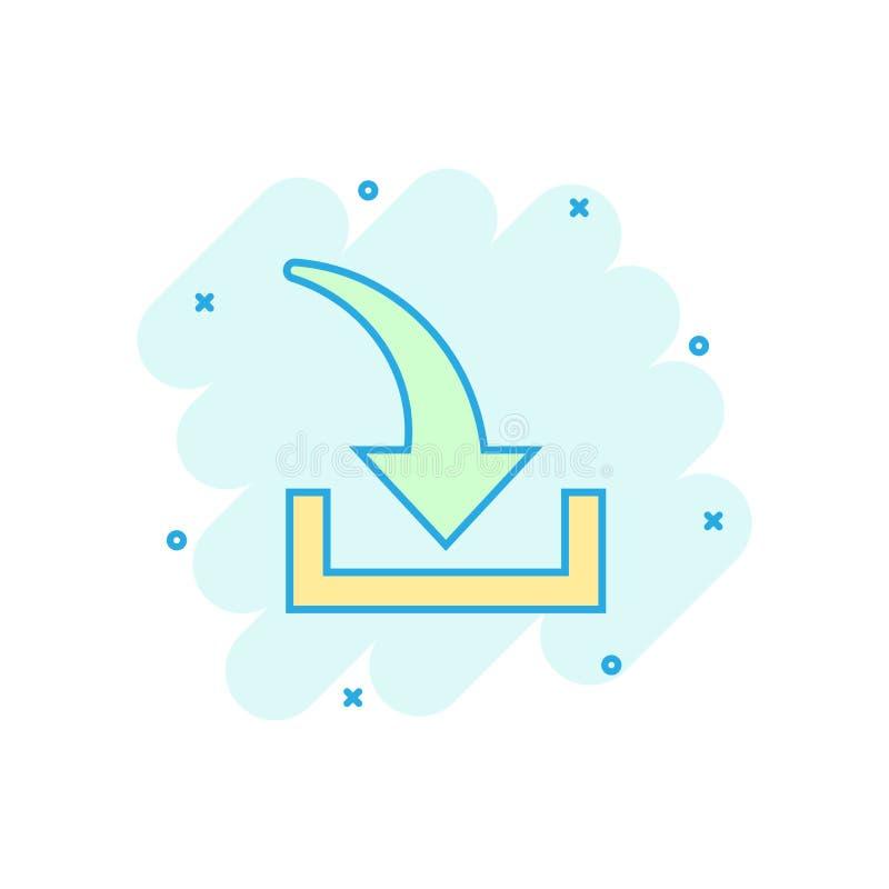 Het pictogram van het downloaddossier in grappige stijl Pijl die neer het vectorpictogram van de beeldverhaalillustratie download royalty-vrije illustratie