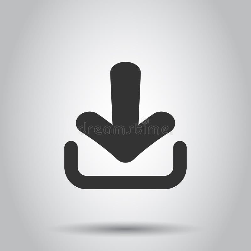 Het pictogram van het downloaddossier in vlakke stijl Pijl die neer vectorillustratie op witte achtergrond downloaden Download be stock illustratie