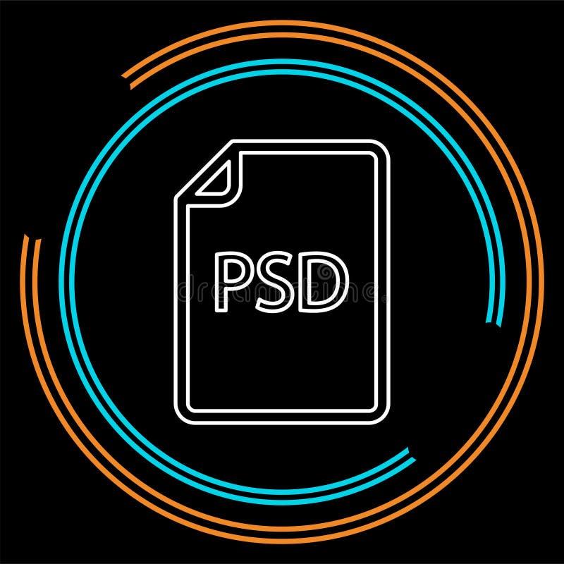 Het pictogram van het downloadpsd document - vectorbestandsindeling vector illustratie