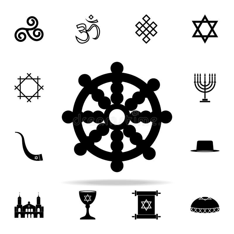 Het pictogram van het draakwiel Voor Web wordt geplaatst dat en het mobiele algemene begrip van godsdienstpictogrammen vector illustratie
