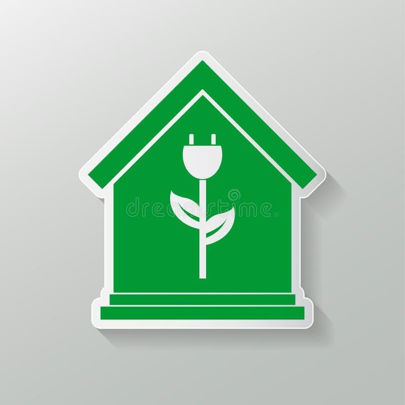 Het pictogram van het Ecohuis het het groene embleem of embleem van de huisecologie Vector illustratie vector illustratie