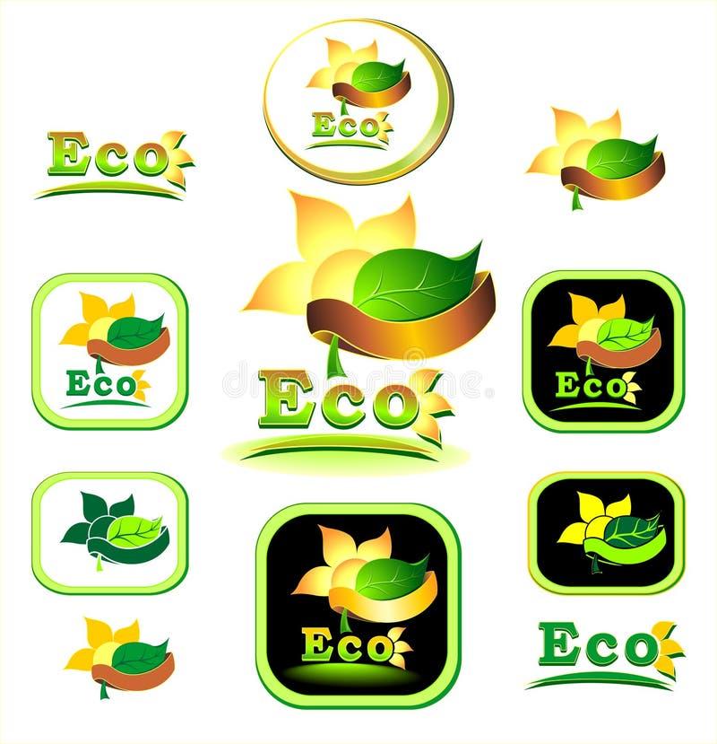 Het pictogram van Ecologic en logotype stock illustratie