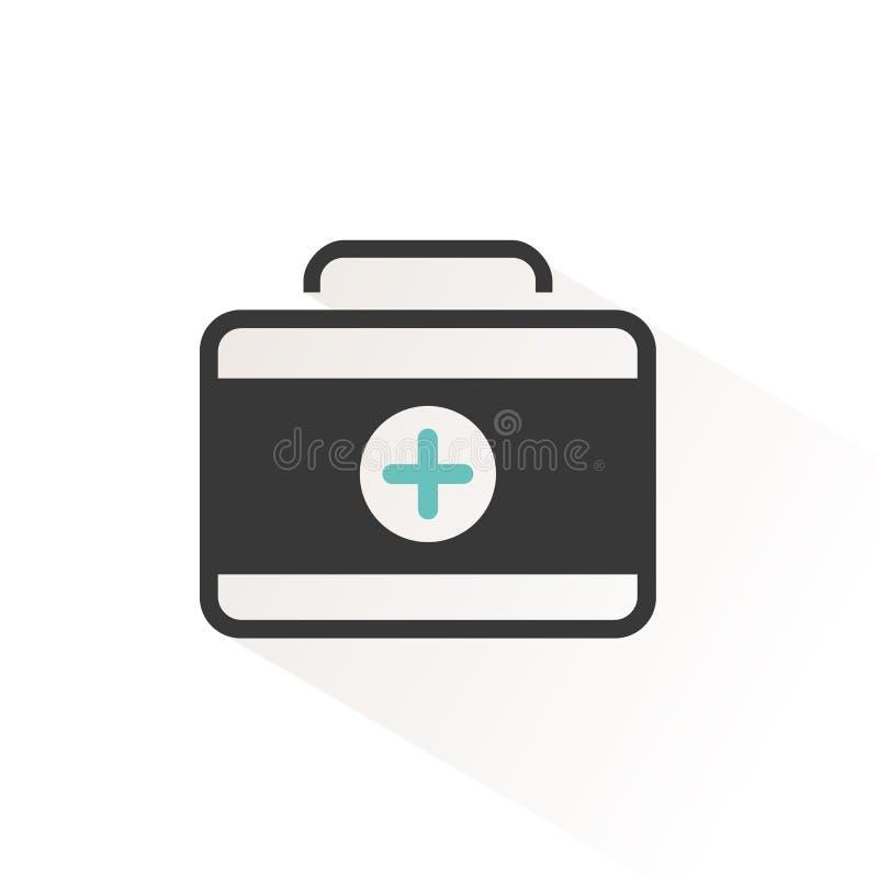 Het pictogram van het eerste hulpgeval Noodsituatiemedische apparatuur Vector illustratie royalty-vrije illustratie