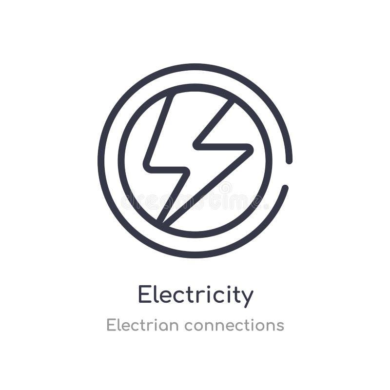het pictogram van het elektriciteitsoverzicht ge?soleerde lijn vectorillustratie van electrian verbindingeninzameling editable du stock illustratie