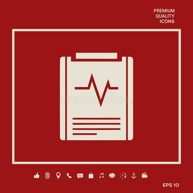 Het pictogram van het elektrocardiogramsymbool Grafische elementen voor uw ontwerp royalty-vrije illustratie