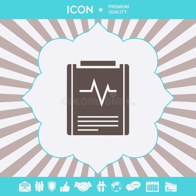 Het pictogram van het elektrocardiogramsymbool Grafische elementen voor uw ontwerp stock illustratie