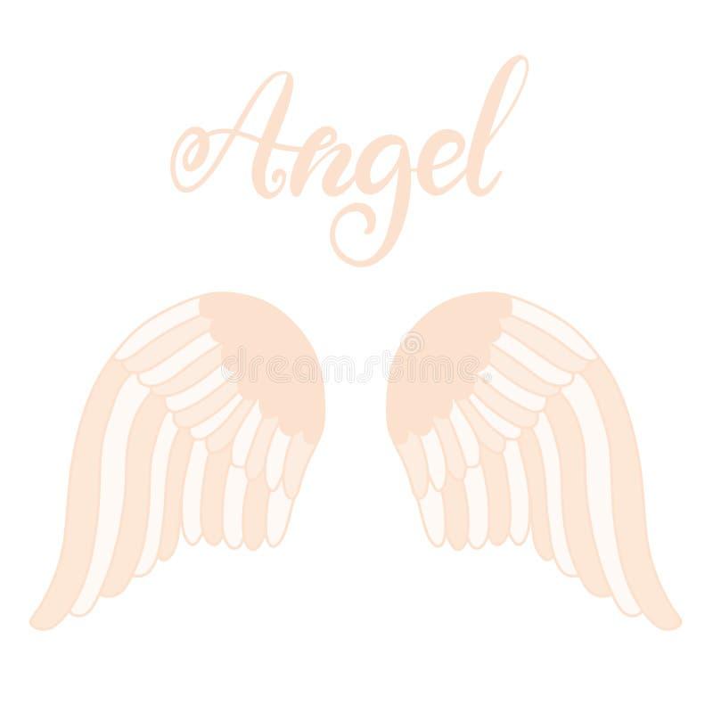 Het pictogram van engelenvleugels met hand het van letters voorzien woordengel stock illustratie