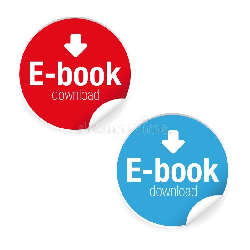 Het pictogram van het het etiketteken van de Ebookdownload royalty-vrije illustratie
