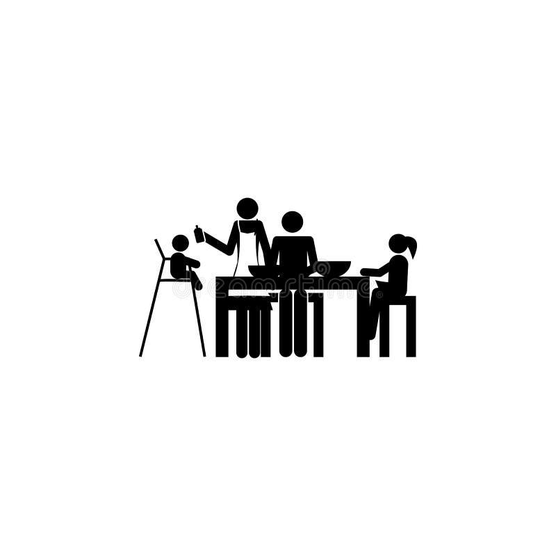 het pictogram van het familiediner Element van een gelukkig familiepictogram Grafisch het ontwerppictogram van de premiekwaliteit vector illustratie
