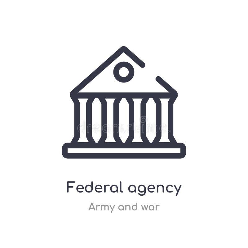 het pictogram van het federaal agentschapoverzicht ge?soleerde lijn vectorillustratie van leger en oorlogsinzameling editable dun stock illustratie