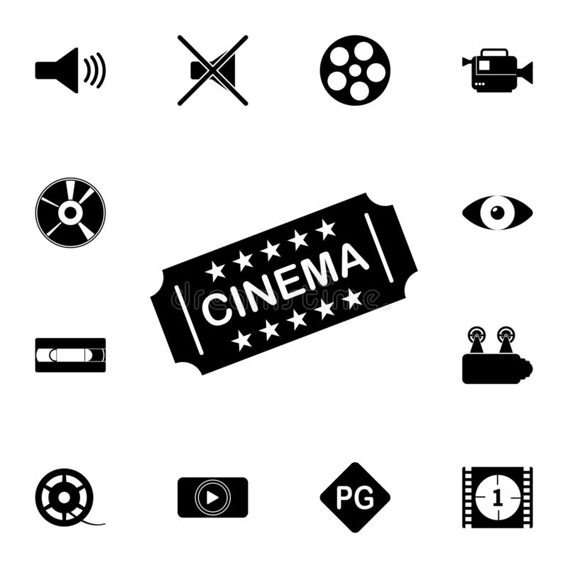 Het pictogram van het filmkaartje Gedetailleerde reeks bioskooppictogrammen Grafisch het ontwerppictogram van de premiekwaliteit  royalty-vrije illustratie