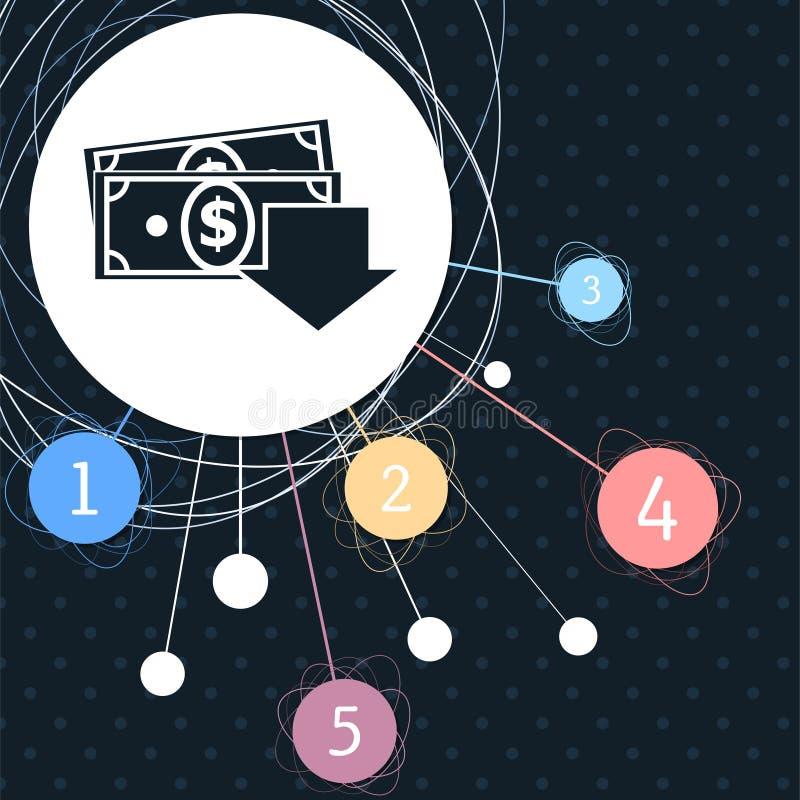 Het pictogram van het geldcontante geld met de achtergrond van het punt en met infographic stijl royalty-vrije illustratie
